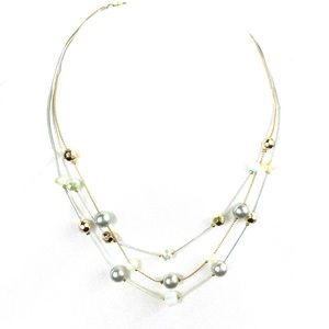 New Multi-Chain Layered Beaded Scoop Necklace